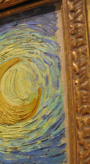 Close up of upper right corner of Van Gogh's The Starry Night, photo by Wholtone