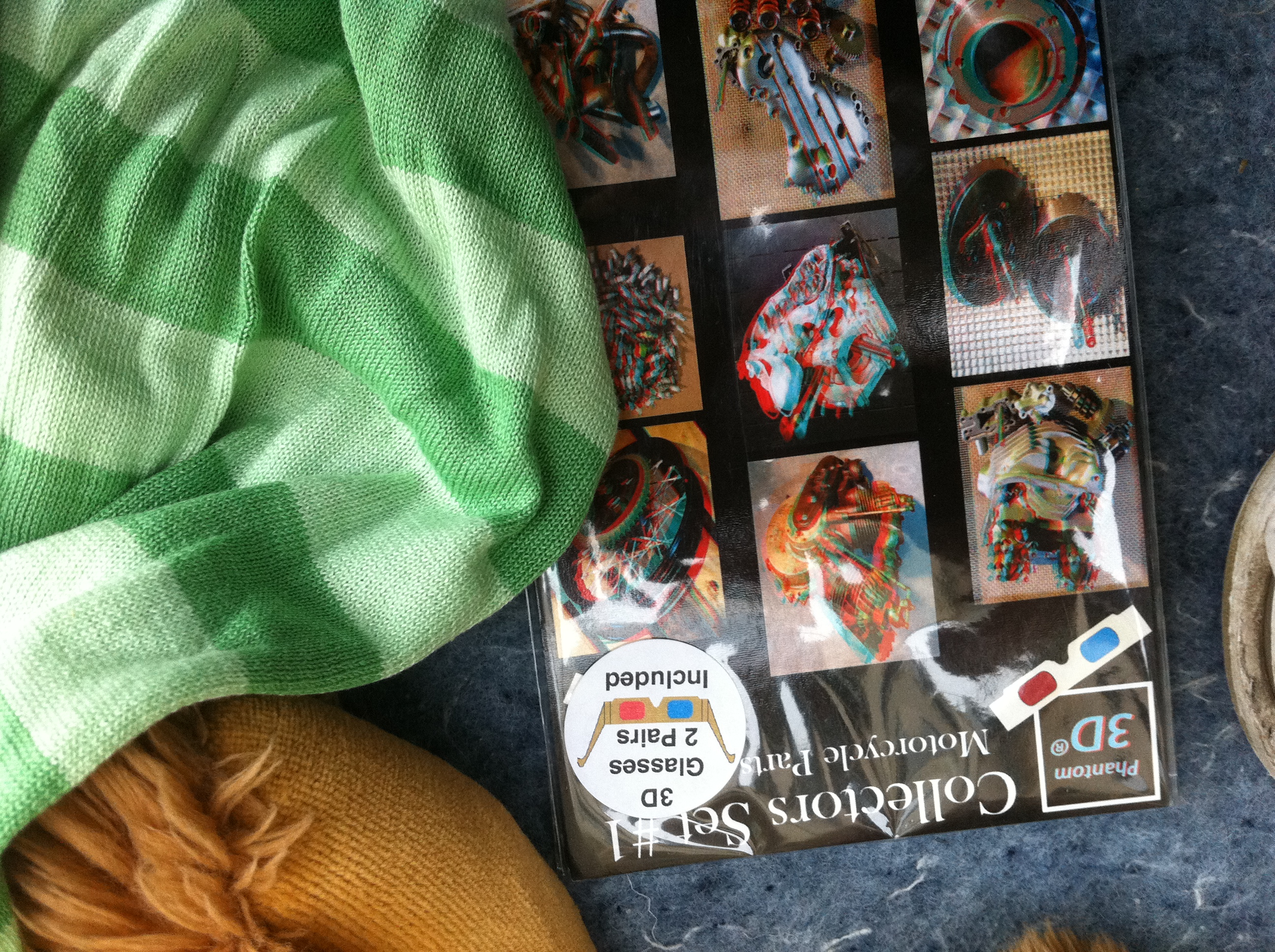 A Set of Cards Displaying Motorcycle Parts. In 3-D. Glasses Included.