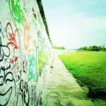 A photograph of the graffiti on the eastern side of the Berlin wall.