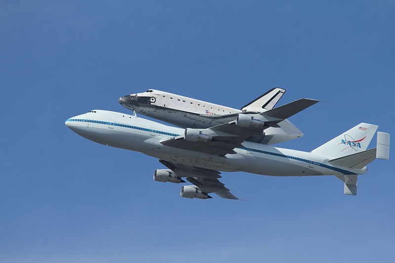 Space Shuttle Endeavour flying over Moffet Field.  Photo by Arnold de Leon